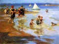Children at Play on the Strand Impressionist Edward Henry Potthast