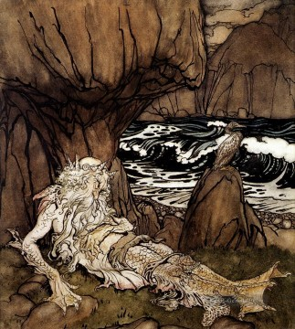 A Crowned Merman Illustrator Arthur Rackham Ölgemälde