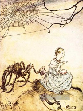 Mutter Gans little Miss Muffet Illustrator Arthur Rackham Ölgemälde