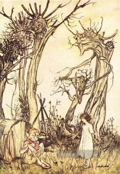 Mutter Gans Mann in der Wildnis Illustrator Arthur Rackham Ölgemälde