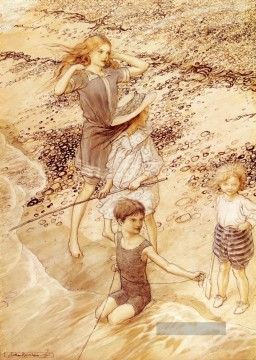Kinder Malerei - Kinder By The Sea Illustrator Arthur Rackham