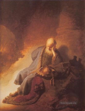 Jeremais Lamenting the Destruction of Jerusalem Porträt Rembrandt Ölgemälde