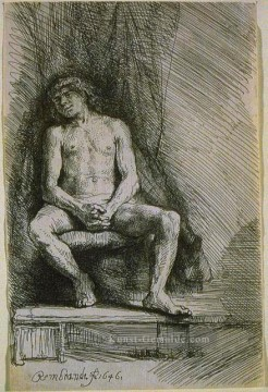 Rembrandt van Rijn Werke - Study from the Nude Man Seated before a Curtain SIL Rembrandt