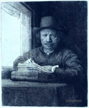 drawing at a window Porträt Rembrandt Ölgemälde