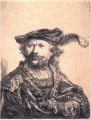 in Velvet Cap and Plume SIL Porträt Rembrandt