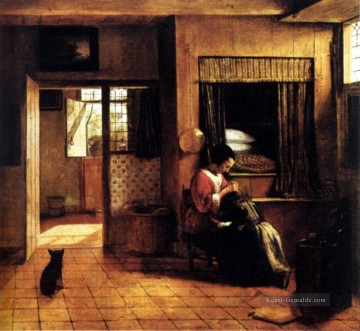 De The Mother genre Pieter de Hooch Ölgemälde