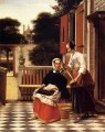 Woman And Maid With A Pail In A Courtyard genre Pieter de Hooch