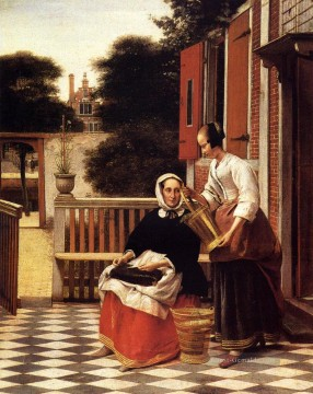 Werke von 350 berühmten Malern Werke - Woman And Maid With A Pail In A Courtyard genre Pieter de Hooch
