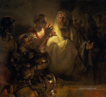 the denial of peter 1660 Rembrandt Ölgemälde