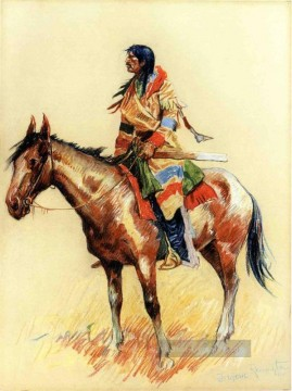 Frederic Remington Werke - A Rasse Old American West cowboy Indian Frederic Remington