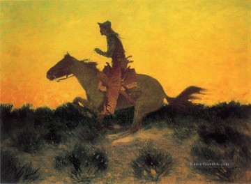 Frederic Remington Werke - gegen den Sonnenuntergang Old American West Frederic Remington
