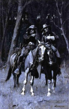 Frederic Remington Werke - Cheyenne Scouts das Patrouillieren Big Timber of the North kanadisch Oklahoma Old American West Frederic Remington