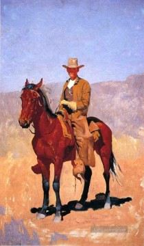 Frederic Remington Werke - Mounted Cowboy in Chaps mit Rennen Pferd Old American West Frederic Remington