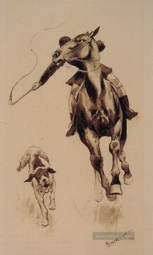 American Maler - Whipping in ein Straggler Old American West Frederic Remington