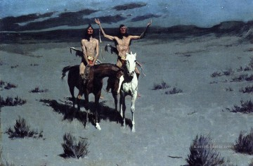 Cowboy Künstler - Hübsche Mutter der Nacht Old American West cowboy Indian Frederic Remington