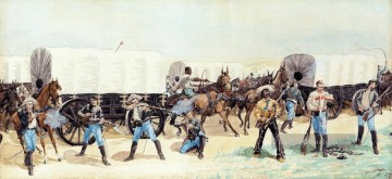 Frederic Remington Werke - Angriff auf den Troß Old American West Frederic Remington