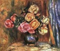 roses in front of a blue curtain Blume Pierre Auguste Renoir