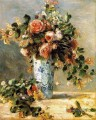 roses and jasmine in a delft vase Blume Pierre Auguste Renoir