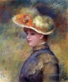 young woman wearing a hat Pierre Auguste Renoir