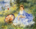 young woman with a japanese umbrella Pierre Auguste Renoir