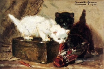 Kittens At Play Tier Katze Henriette Ronner Knip Ölgemälde