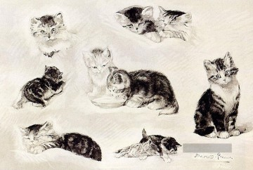 A Study Of Cats Drinking Sleeping And Playing Henriette Ronner Knip Ölgemälde