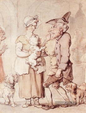 KR Ölgemälde - The Sick Hund Karikatur Thomas Rowlandson