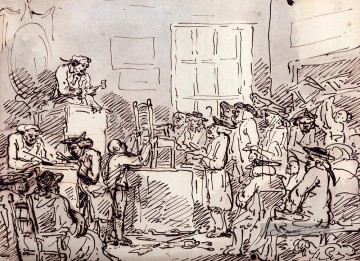 A Furniture Auction Karikatur Thomas Rowlandson Ölgemälde