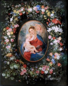Peter Paul Rubens Gemälde - The Virgin and Child in a Garland of Flower Barock Peter Paul Rubens