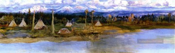 marion - kootenai Camp am Schwansee unvollendet 1926 Charles Marion Russell