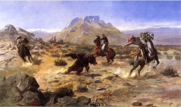 Marion Malerei - Capturing the Grizzly Westliche Amerikanische Charles Marion Russell