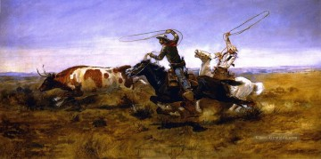 Charles Marion Russell Werke - oh Cowboys ein Steer Roping 1892 Charles Marion Russell