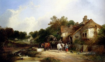 Set Ölgemälde - The Road Side Inn Somerset Ländlichen Szenen William Shayer Snr