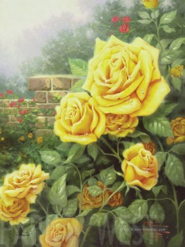 Thomas Kinkade Werke - A Perfect Yellow Rose Thomas Kinkade