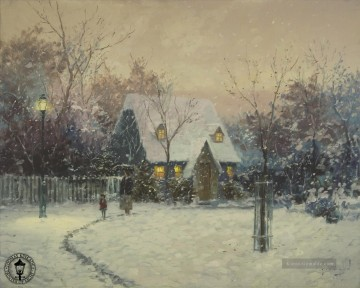 Thomas Kinkade Werke - A Winters Cottage Thomas Kinkade