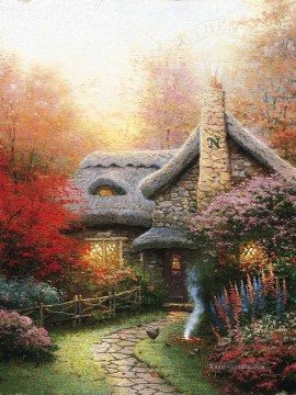 Herbst bei Ashley Cottage Thomas Kinkade Ölgemälde
