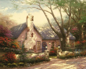 Thomas Kinkade Werke - Morning Glory Cottage Thomas Kinkade