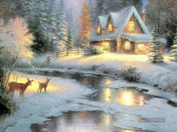 Thomas Kinkade Werke - Deer Creek Cottage Thomas Kinkade