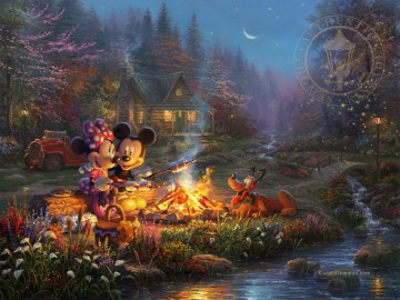 Minnie Kunst - Mickey und Minnie Sweetheart Lagerfeuer Thomas Kinkade