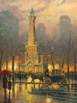 Thomas Kinkade Werke - Chicago Winter am Wasserturm Thomas Kinkade