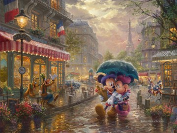 Mickey Künstler - Mickey und Minnie in Paris Thomas Kinkade
