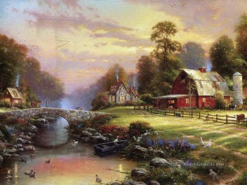 Thomas Kinkade Werke - Sunset At Riverbend Farm Thomas Kinkade