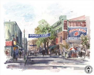 Thomas Kinkade Werke - Yawkey Way Aquarell Thomas Kinkade