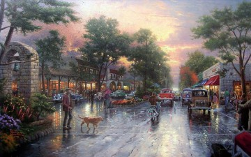 Thomas Kinkade Werke - Carmel Sunset On Ocean Avenue Thomas Kinkade