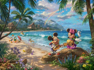 Mickey und Minnie in Hawaii Thomas Kinkade Ölgemälde