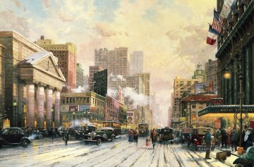Thomas Kinkade Werke - New York Schnee auf Seventh Avenue 1932 Thomas Kinkade