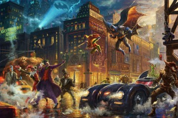 Thomas Kinkade Werke - The Dark Knight spart Gotham Stadt Hollywood Film Thomas Kinkade
