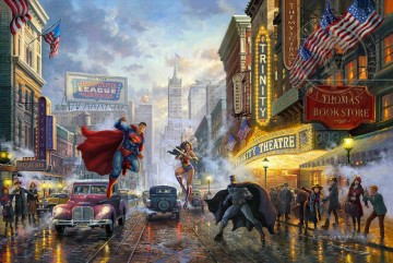 Thomas Kinkade Werke - Batman Superman und Wonder Woman Hollywood Film Thomas Kinkade