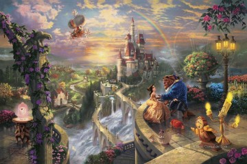 Thomas Kinkade Werke - Beauty and the Beast Falling in Love Thomas Kinkade