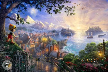 Thomas Kinkade Werke - Pinocchio Wishes Upon a Star Thomas Kinkade